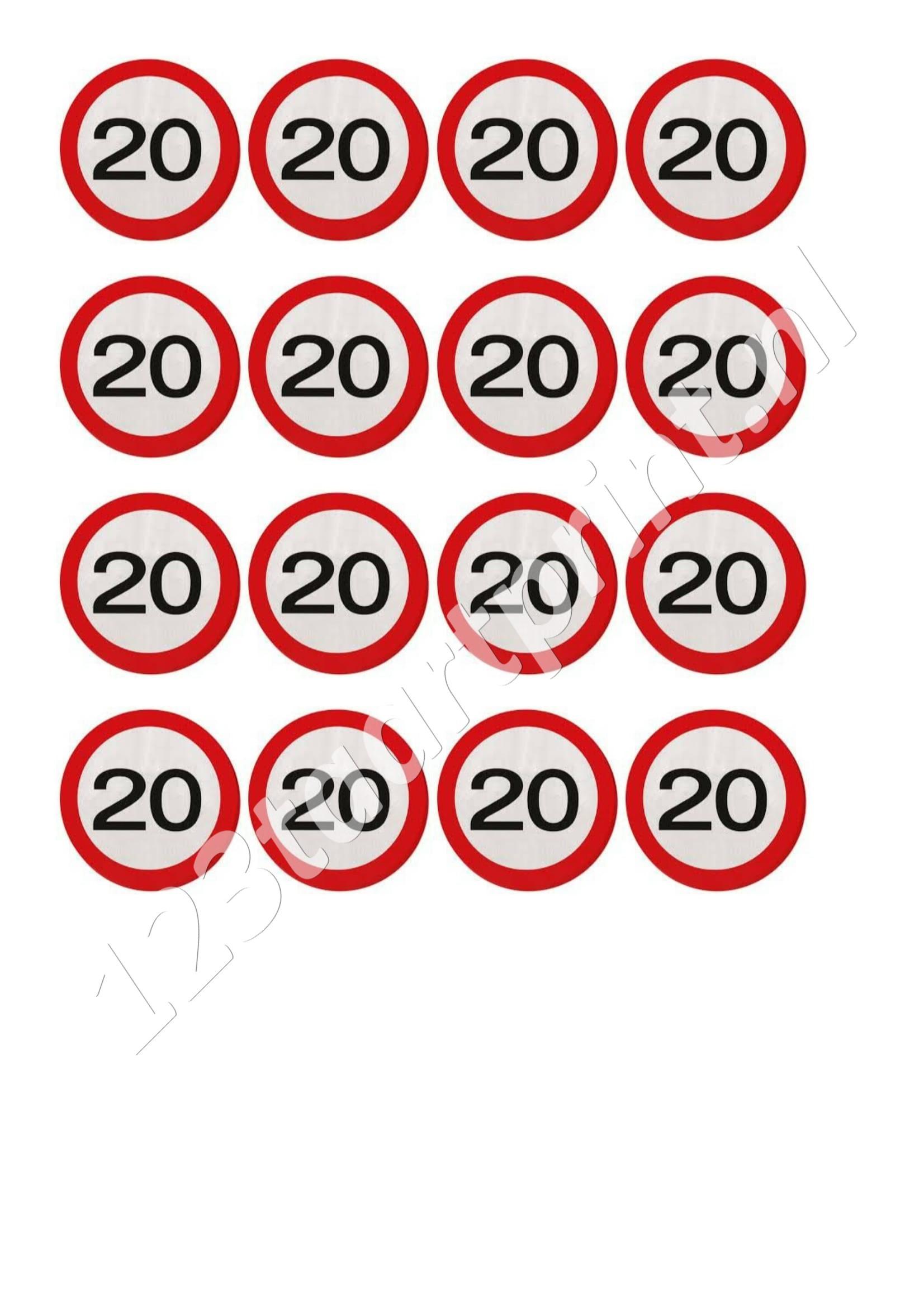 Verkeersbord 20e verjaardag cupcakes