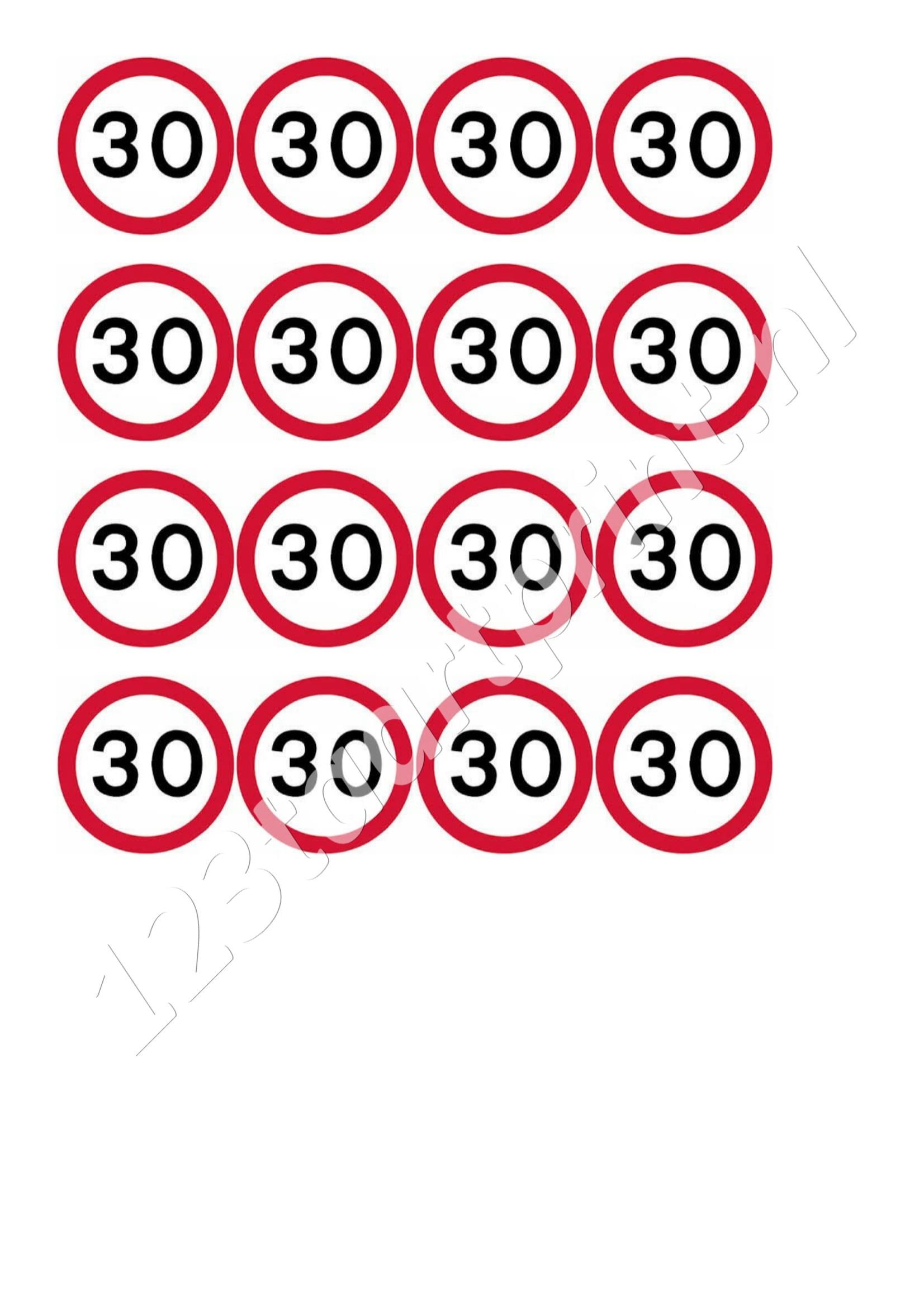 Verkeersbord 30e verjaardag cupcakes