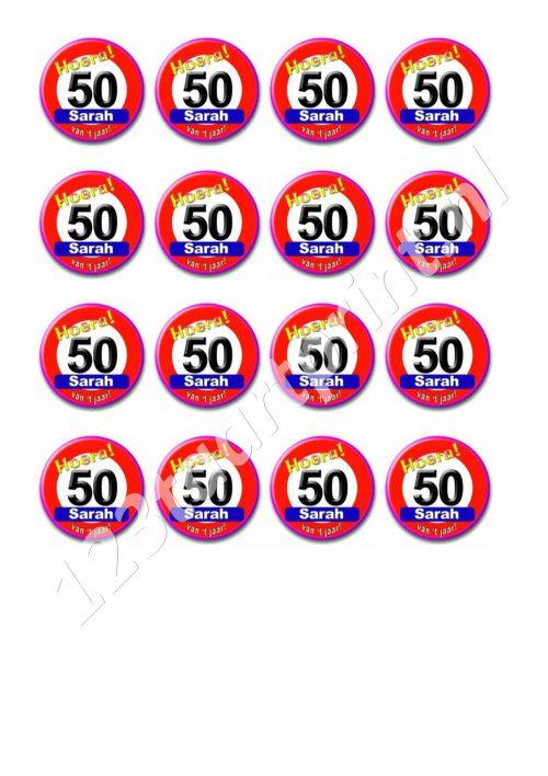 Verkeersbord 50e verjaardag Sarah cupcakes