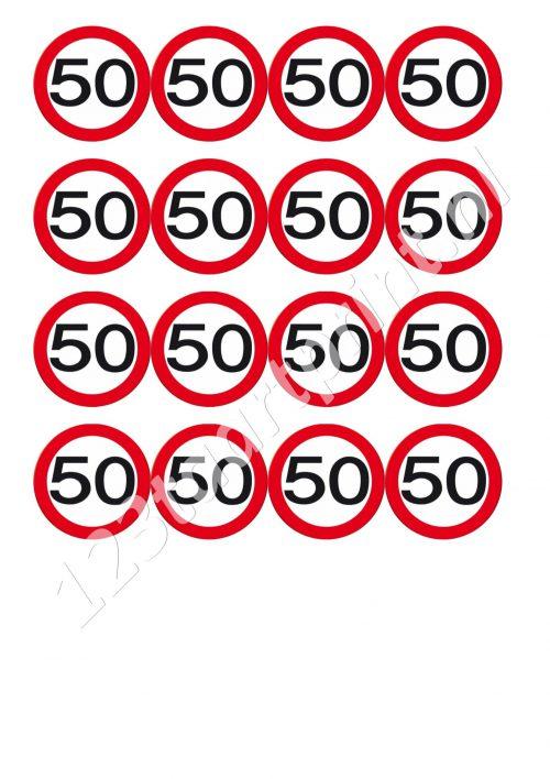 Verkeersbord 50e verjaardag cupcakes