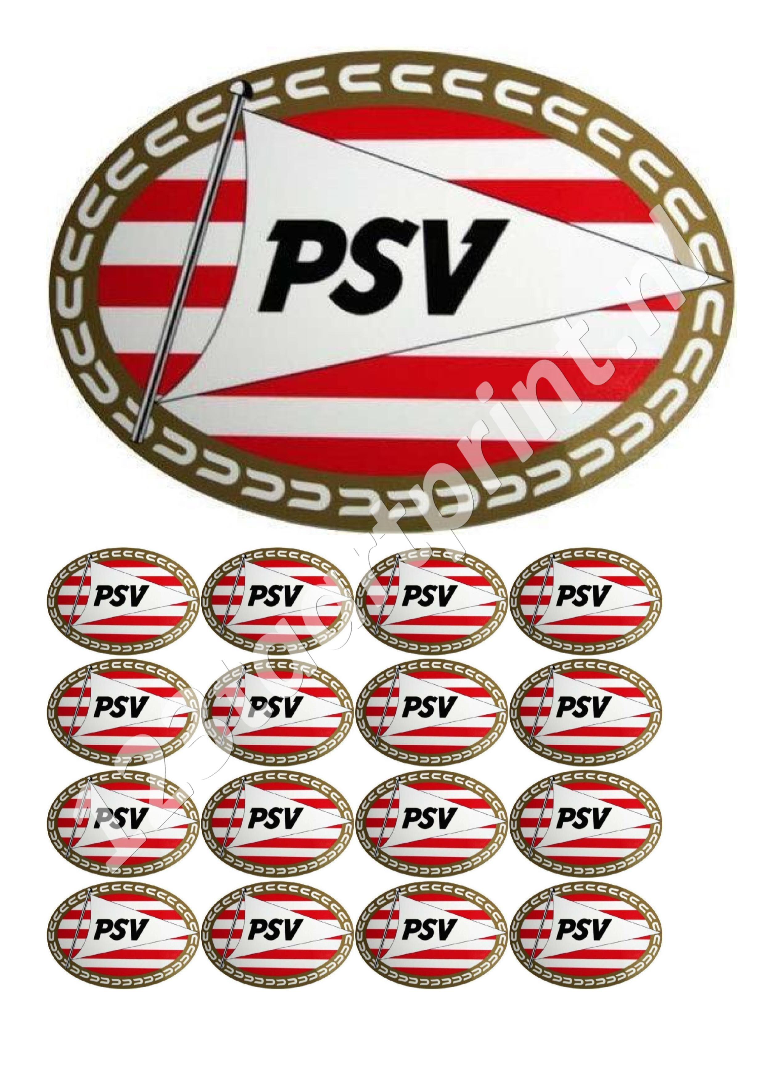 PSV Logo taart en cupcakes