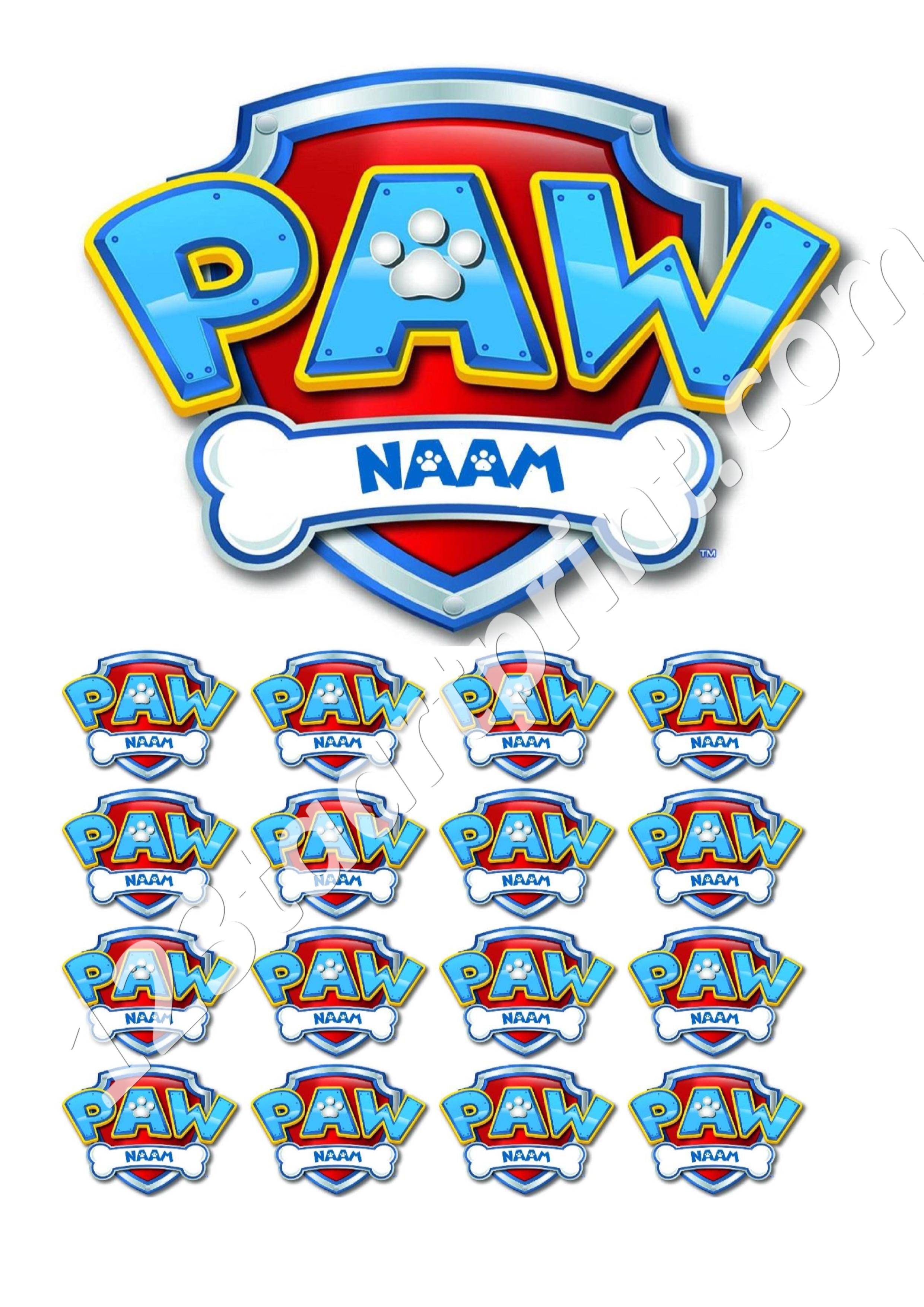 Paw Patrol logo met eigen naam