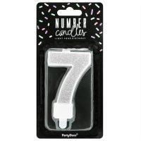 PartyDeco Verjaardag Kaars Nummer 7 - Zilver