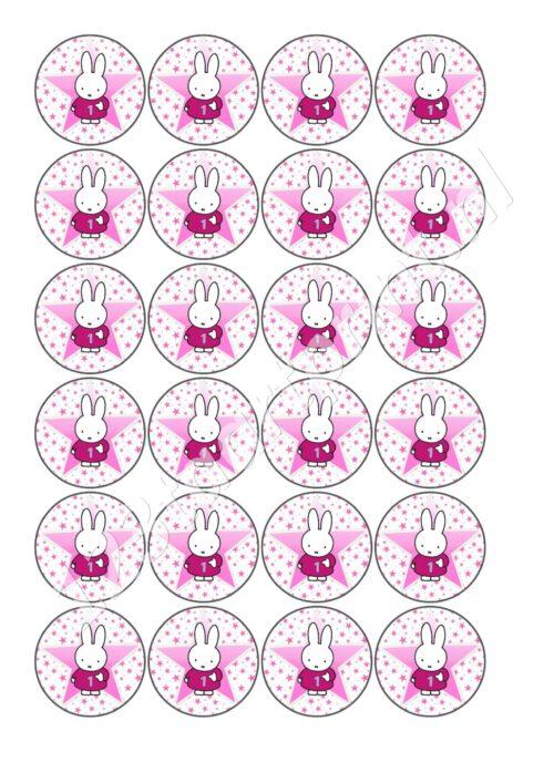 Nijntje Roze 1 jaar cupcakes